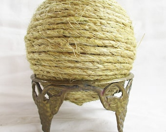 Vintage Brass Crown Style Stand and Handmade Large Sisal Rope Ball Home and Living Redesign Home Decor Vintage Brass and Large Ball Display