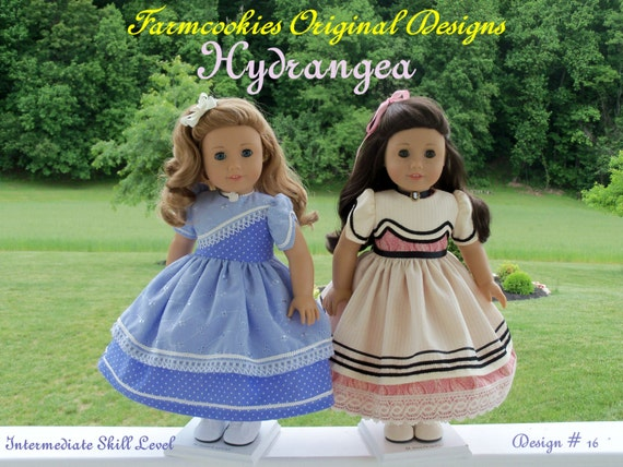 """PDF Sewing Pattern- HYDRANGEA-Fits Historical American Girl® or other 18"""" Dolls"""