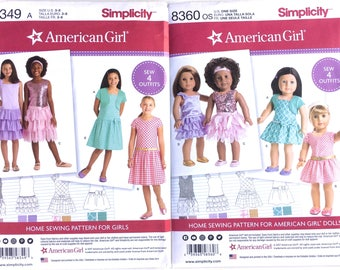 """Simplicity 8360 and 8349. American Girl matching dress with matching 18"""" Doll pattern. Child size 3, 4, 5, 6, 7, 8"""