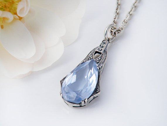 Delicate Light Sapphire Blue Glass Vintage Pendant | Cut Pear Pendant, Art Deco 800 Silver Millegrain, Something Blue - 16.5 inch Chain