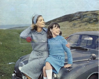 Lady & Girl's Dress DK 30-40in. Patons 9536 Vintage Knitting Pattern PDF instant download