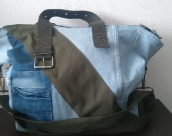 Sturdy, unique bag of recycled jeans