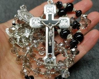 SALE Rosary Swarovski Black Diamond Crystal Sterling Silver Stations/Cross Crucifix Unique 3-way Medal FREE US Shipping  HeartFelt Rosaries