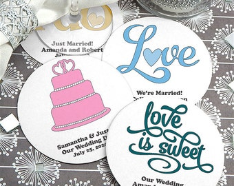 Classic Wedding Paper Board Coaster Favor, Round Paper Coasters - Set of 12