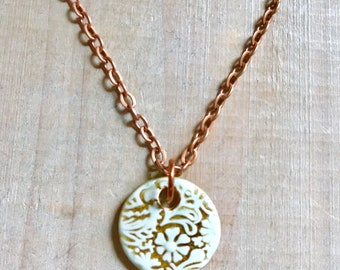 Aqua Floral Necklace-Porcelain Jewelry-Kim OHara Designs-Ceramic Jewelry