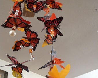 Monarch Butterfly Mobile With 3 Dimensional Monarchs