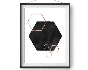 Geometric Print, Rose Gold & Black Art, Hexagon Print, Scandinavian Art, Minimal Art Prints, Watercolor Poster, Wall Art, Print Avenue Art