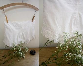 Edwardian Children's Bloomers / Victorian Pantaloons / Cotton Shorts / Size XXS / Adjustable Waist / Cotton Lace