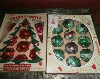 Vintage Christmas tree mercury glass ornaments Shiny Brite some stencils some red solid lot 20 in 2 boxes