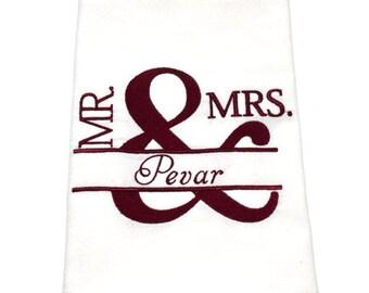 Mr and Mrs, tea towel flour sack, kitchen towel, wedding gift, custom tea towel, bride to be - Made to Order