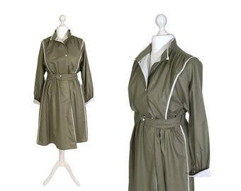 80's Utility Style   Large   Industrial Style 1980's Vintage Dress   Khaki Green With White Trim