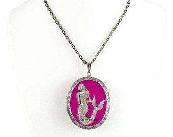 Mermaid Pill Box Necklace Hand Painted Enamel Magenta Oval Locket Necklace Nautical Inspired with Color and Personalized Options