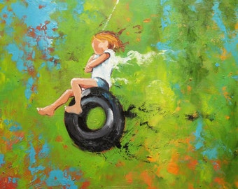 Print Swing 54 18x24 inch Print from oil painting by Roz
