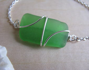 Real Seaglass Bracelet Beach Glass Jewelry Wire Wrapped Bracelet Natural Sea Glass Surf Tumbled Sea Glass Bracelet Green