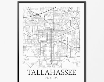Tallahassee map gift Etsy