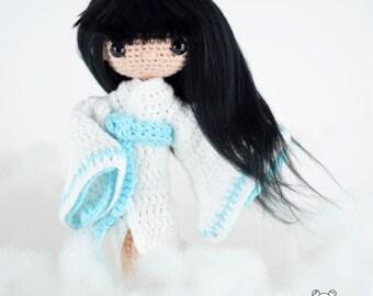 Yuki onna, muñeca japonesa, muñeca articulada, Yuki onna art, muñeca Yuki onna, muñeca amigurumi, mujer nieve, reina nieve, yokai kawaii