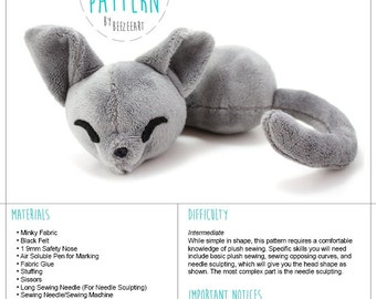 Sleepy Cat Stuffed Animal Sewing Pattern, Plush Toy Pattern, Sewing Pattern, PDF Tutorial