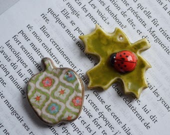 Set of 2 charms of cold porcelain, creating Keychain, bag charm, whimsical jewelry, Hand made creation, handmade