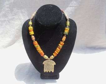 handmade african amulet trade bead necklace