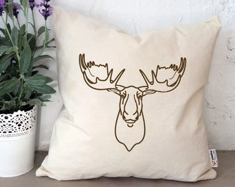 Moose pillow Canada day gift Canada pillow Canadian moose Throw pillow Canada day decor Moose design Moose drawing Cushion cover Home decor