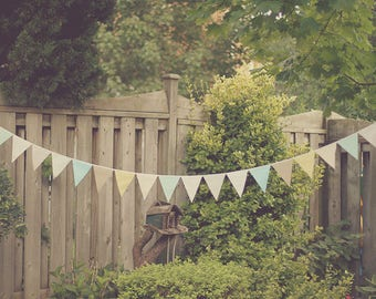 Fabric Bunting Banner Flags, Rustic Wedding Garland Backdrop, Gender Neutral Baby Shower Decorations Pastel, Birthday Party Decor 60 Feet