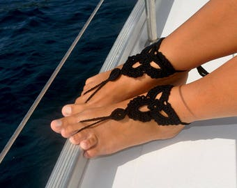 Bridesmaid Gift Idea Barefoot Sandal Black Shoes Foot Jewelry Girlfriend Gift for Her Barefoot Sandle Boho Jewelry Bridal Party Gift Idea