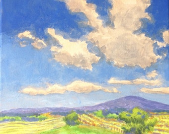 Vineyards - Original Landscape Painting on Canvas Clouds Oak Trees Hills and Vineyard California 8x8