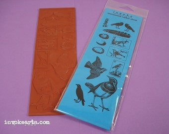 Build Your Nest / Invoke Arts Collage Rubber Stamps / Unmounted Stamp Set