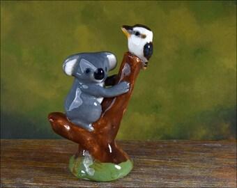 Mini ceramic kookaburra and koala figurine by Anita Reay Etsy  Australian pottery  koala bear figurine  Australian keepsake souvenir