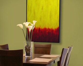 Modern art, 30 x 40 - Red Meets Yellow - modern landscape, abstract painting, yellow art, contemporary art, mid century modern art, wall art