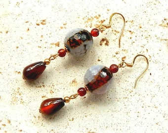 Cut Stone Faceted Agate Earrings