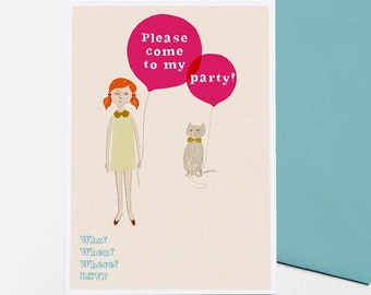 Girl & Cat - set of 8 party invitations
