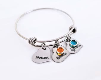 Heart Personalized Grandma Bangle, Grandmother's Bracelet, Mommy Jewelry, Adjustable Bangle, Expandable Bracelet, Nana, MeMaw, Mema