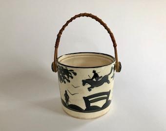 Vintage Japanese Ceramic Pot, Basket with Black Equestrian Scene