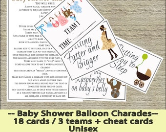 Baby Shower Balloon Charades - 18 cards / 3 teams + cheat cards - INSTANT DOWNLOAD