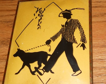 1940's Man Walking Dog Silhouette Picture~Bubble Glass~Framed