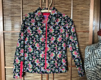 Vintage Obermeyer quilted cotton floral jacket / coat vintage ski wear