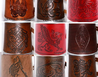 Mugs -Animals and Mythic Beasties - choose stamp and color - by Crimson Chain leatherworks - SCA Larp Renactment Garb