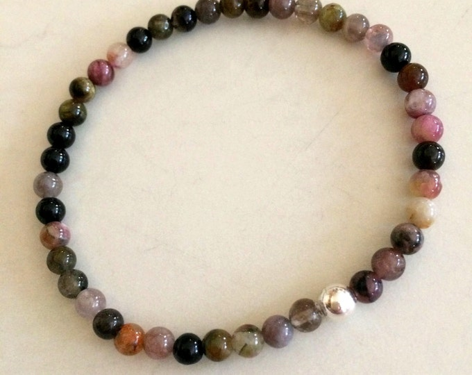 Watermelon Tourmaline stretch Bracelet with Sterling Silver or 14K Gold Fill bead - October Birthstone jewelry gift