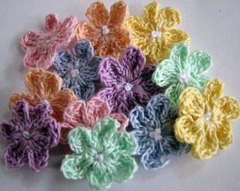 Crochet Flowers - Pretty Pastels - 12 Total