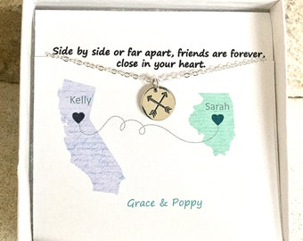 Long Distance Friendship Necklace | Pick your state | Going away | BFF Gift | Graduation Gift | State to State|
