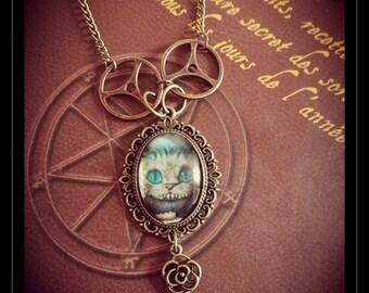 Jewelry necklace Steampunk accessory Vintage Alice in Wonderland with clockwork gear key charm