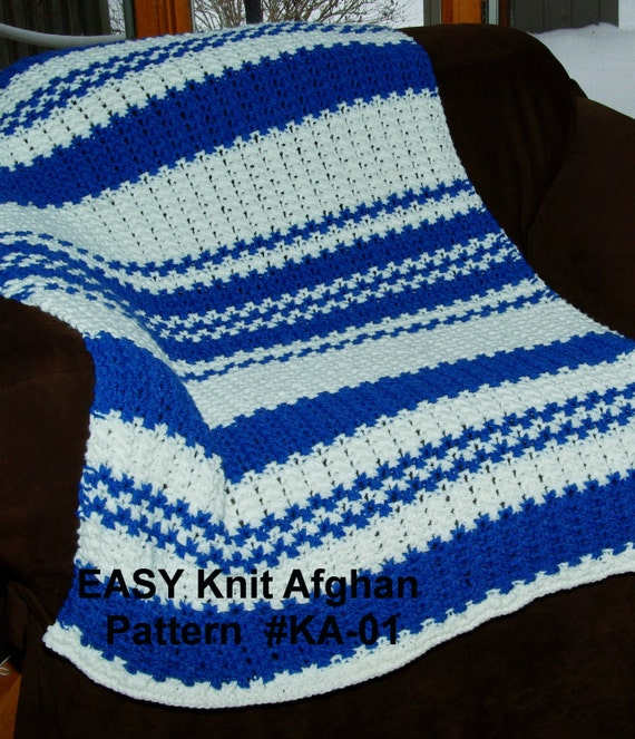Easy Knit Blanket Pattern - Quick & Easy 2 Row Repeat! Size 13 ...