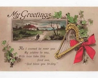 Harp, Clover, My Greeting, Vintage Greetings Postcard,Posted in 1916, E J Hey