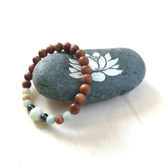 Sandalwood and Amazonite Mala Bracelet, Bracelet With Matching Mala Beads, Yoga Jewelry, Bohemian Style Jewelry, Festival Jewelry