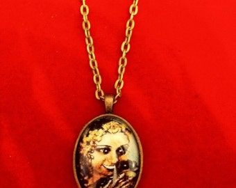 Josephine Baker Flowers Oval Pendant Necklace w/ Vintage Finish