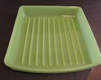 Jadite refrigerator pan - jadeite - green glass