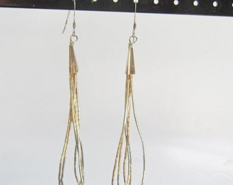 Native American Liquid Sterling Silver Multi Strand Dangle Earrings - 2824I