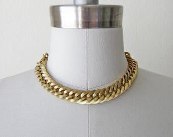 1950s vintage gold chunky coro vendome choker chain necklace