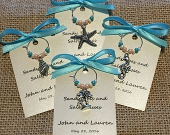 50-95 Custom Beach Themed Wine Charm Favors - Weddings, Bridal Shower, Rehearsal Dinner, Anniversary, Birthday, Dinner Party, Special Event
